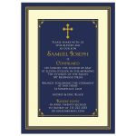 Navy blue, gold, and ivory boy's classic Catholic Confirmation Invitation front