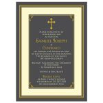 ​Gray, gold, and ivory boy's classic Catholic Confirmation Invitation front
