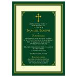 Forest green, gold, and ivory boy's classic Catholic Confirmation Invitation front