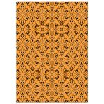 Black and orange lace damask pattern, back of Halloween costume party invite.