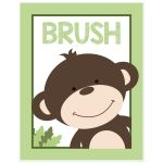 11x14 Brush Monkey Bathroom Childrens Art