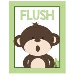 Flush 11x14 Monkey Bathroom Art print