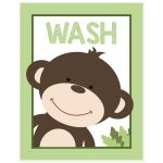 Wash 11x14 Monkey Bathroom Art Print