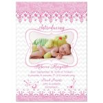 Pink and white lace and whimsical bird floral baby girl photo birth announcement front
