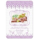 Purple and white lace and whimsical bird floral baby girl photo birth announcement front