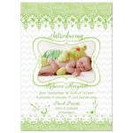 Green and white lace and whimsical bird floral baby girl photo birth announcement front