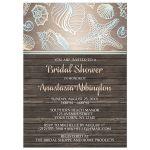 Bridal Shower Invitations - Rustic Wood Beach Seashell