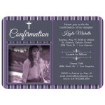 Modern Plum Striped Photo Confirmation Party Invitation
