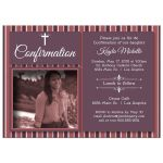 Modern Earthy Red Wine Striped Photo Confirmation Party Invitation