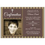 Modern Chocolate And Gold Striped Photo Confirmation Party Invitation