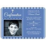 Modern Blue Striped Photo Confirmation Party Invitation