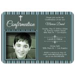 Modern Green And Blue Striped Photo Confirmation Party Invitation
