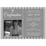 Modern Silver Striped Photo Confirmation Party Invitation