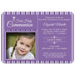 Modern Purple Striped First Communion Invitation Photo Template