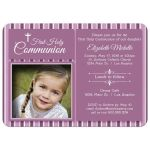 Modern Pink Striped First Communion Invitation Photo Template