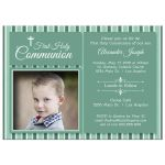 Modern Teal Striped First Communion Invitation Photo Template