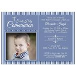 Modern Blue Striped First Communion Invitation Photo Template