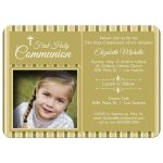 Modern Gold Striped First Communion Invitation Photo Template