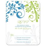 Cerulean blue and lime green modern abstract floral wedding RSVP reply card front