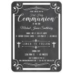 Trendy Chalkboard Typography First Holy Communion Invitation