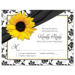 Yellow sunflower, black and white damask floral and ribbon RSVP reply insert card front