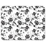 Yellow sunflower, black and white damask floral and ribbon RSVP reply insert card back