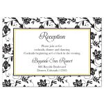 Yellow sunflower, black and white damask floral wedding reception card front