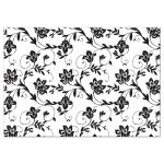 Yellow sunflower, black and white damask floral wedding reception card back