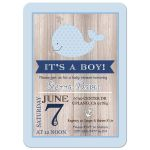 Little Blue Whale Nautical Rustic Baby Shower Invitation