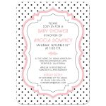 Retro black and white polka dots, vintage frame, pink baby girl baby shower invitation​ front
