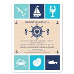 Party Invitation - Nautical Summer Beach Party Clambake Icons
