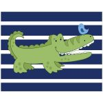 Alligator Blue Striped Nursery Art Print