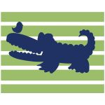 Alligator Green and White Striped Nursery Art Print 11x14