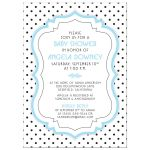 Retro black and white polka dots, vintage frame, blue baby boy baby shower invitation front