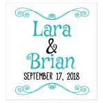 Whimsical Modern Teal Typography Personalized Wedding Beverage Labels