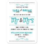 Whimsical Modern Teal Typography Wedding Invitation