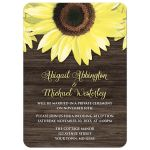 Reception Only Invitations - Rustic Sunflower and Wood