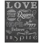 8x10 Chalkboard With Modern Typography About Inspiration And Love
