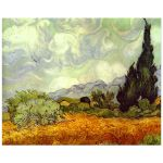 8x10 Wall Art of Van Gogh's Wheat Field with Cypresses