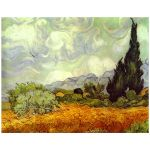11x14 Wall Art of Van Gogh's Wheat Field with Cypresses