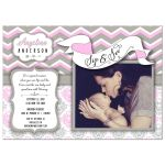 Pink Chevron Sip And See New Baby Girl Photo Template Invitation