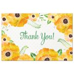 Yellow Watercolor Floral Thank You Postcards front