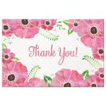 Pink Watercolor Floral Thank You Postcards front