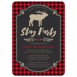 Rustic Red & Black Plaid Stag Bachelor Party Invitations front
