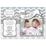Pink And Blue Chevron Sip And See Twin Babies Photo Invitation