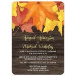 Reception Only Invitations - Rustic Autumn Leaves and Wood