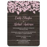 Reception Only Invitations - Cherry Blossom Rustic Wood