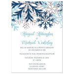Reception Invitations - Winter Snowflake Blue Silver
