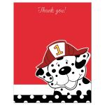 Dalmatian Firetruck Flat Thank you card