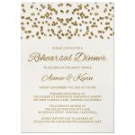 Glamorous Glitter Confetti Rehearsal Dinner Invitations front